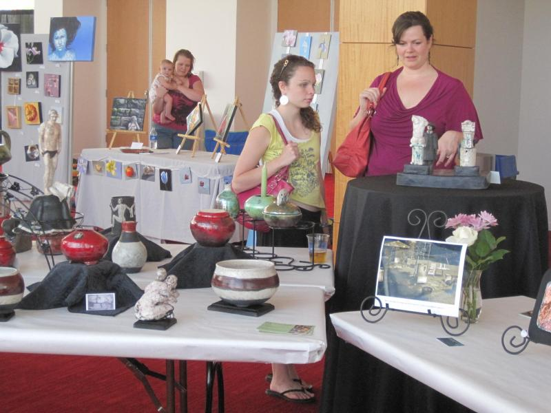 Margaret's Sculptures & Pots, Our Artwalk show at DPAC with ClayWorks Guild